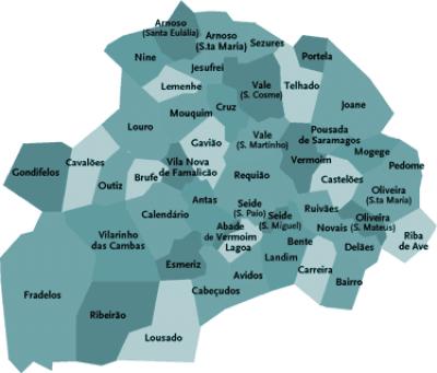 famalicão mapa Unidade Técnica extingue 15 freguesias no concelho de Famalicão  famalicão mapa